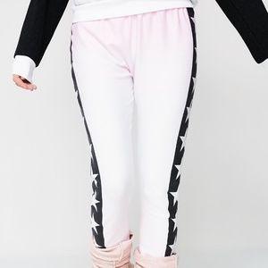 WildFox NEW Align Stars Pink Black Sweatpants NWT